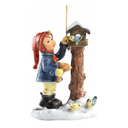 M I Hummel - M I Hummel Benevolent Bird Feeder Ornament - Crafted in resin,this 3.5-inch Hummel hanging ornament adds a stylish accent to your holiday season.  Here's an ornament to twirl and dance on your tree,it's also a perfect gift for someone in your life.