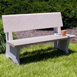 Arborside Polished Granite Bench - Simplistic and charming, the Arborside Polished Granite Bench features a contemporary cutout on the legs, defining the feet on this stone bench. Use this solid stone bench as a standalone piece in your garden or pair with other stone accessories.