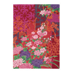 Brink And Campman Garland Floral Rug Pink And Red