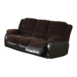 Coaster - Coaster Johanna Reclining Corduroy Motion Sofa in Chocolate - Coaster - Sofas - 600363S - This family room sofa is the perfect solution to restless weary muscles as well as family movie night. A transitional piece, this reclining sofa passes up traditional couches by having a fabric and leather match draping that coordinates well in casual as well as formal room settings. A great relaxation piece that is a favorite among families and couples, this match leather sofa is topped with soft pillowed cushions, providing a luxurious contoured comfort for head to toe relaxation.