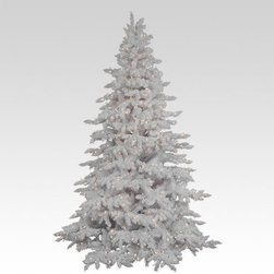 Flocked White Spruce Full Pre-lit Christmas Tree - Okay you start with an authentic-looking spruce Christmas tree. Add a light snow then add a light show and you've got this Flocked White Spruce Full Pre-lit Christmas Tree. The full shape shows off plenty of natural-looking spruce needles and it's available in a variety of sizes up to a towering fourteen feet tall. The white flocking on the tips gives the impression of winter's snow-covered branches. And the dazzling lights in your choice of white or clear give the impression of branches covered with&stars kind of.About VickermanThis product is proudly made by Vickerman a leader in high quality holiday decor. Founded in 1940 the Vickerman Company has established itself as an innovative company dedicated to exceeding the expectations of their customers. With a wide variety of remarkably realistic looking foliage greenery and beautiful trees Vickerman is a name you can trust for helping you create beloved holiday memories year after year.