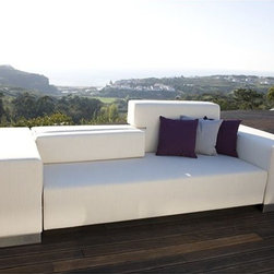 Passion Outdoor Sofa - The Passion sofa features extended back supports that folds up or down as needed.