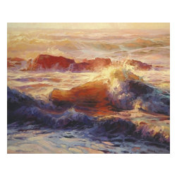 Steve Henderson Fine Art - Opalescent Sea Artwork -- Original Oil Painting - Original Oil Painting on canvas, 24 inches high by 30 inches wide. With gold-colored frame -- included with purchase -- finished hanging size is 30 x 36. This is the original oil painting of a licensed work.