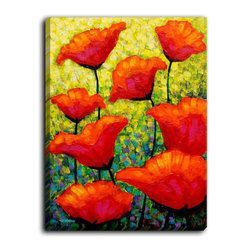 DiaNoche Designs - DiaNoche Canvas Wall Art by John Nolan Mischas Poppies - DiaNoche Designs works with artists around the world to create fabulous and unique home decor products.  Canvas Wall Art is the finishing touch to every home, office, nursery, bedroom and living space.  Each artistic wall hanging is a reprint of an original art piece and comes ready to hang with hooks and a backing for a clean look and feel.  The inks are UV tested to ensure a fade free lifetime and can be cleaned with a damp cloth.  These are VERY sturdy creations that adds a touch of your class!  Choose unframed or a colored black or walnut fram made from a textured recycled plastic.
