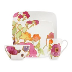 Lenox - Lenox Floral Fusion Square 4-Piece Place Setting - This unique square place setting is bold and romantic all at once. The Floral Fusion Square pattern features a painterly floral motif in bold, vivid colors leaving one corner unadorned for a modern style that gives any table a fresh look.