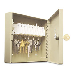 "MMF POS - Uni-Tag Key Cabinet, 10-Key, Steel, Sand, 16 1/2 X 4 7/8 X 20 1/8 - Help avoid wasted time and frustration by organizing your key sets. In these heavy-gauge, welded steel cabinets with piano-hinged doors, all keys are attached to numbered tags and filed securely on key rack slots. For convenience, whenever key is on loan, the ""Out Key"" control tag records key number, key recipient and date and is then filed under same slot for accountabilitya great, simple system. Additionally, the alphabetical and numerical lock location data charts assist in organization. For security, each cabinet has a locking door with a standard disc tumbler key lock with two keys. Key Capacity: 10; Material(s): Welded Steel; Color(s): Sand."