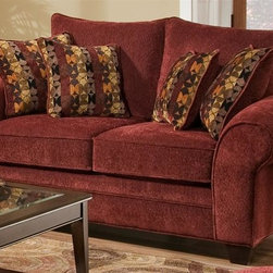 Chelsea Home - Clearlake Transitional Loveseat - Includes two toss pillows. Loveseat with masterpiece burgundy cover. Pillows with palmero mosaic cover. 70 % poly and 30 % ray upholstery. Reinforced 16-gauge border wired sinuous springing system for uniform seating. Double springs on the ends nearest the arms to give balance in seating. Medium seating comfort. Solid kiln dried hardwoods frames. Reinforced stress points with blocks to secure long lasting frame. Cushion made from hi-density foam cores with dacron polyester wrap and zippers. Made in USA. 72 in. L x 43 in. W x 42 in. H (100 lbs.)