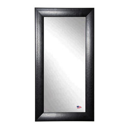 Rayne Mirrors - American Made Stitched Black Leather Full Length Mirror - Full-size floor mirrors can make a dramatic statement in a small space.  Hang or lean this distinctive wall mirror anywhere in your home for added character. The generous 3 inch wide frame is covered in luxurious black leather with a pinstripe stitch design.