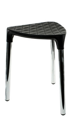 Gedy - Black Faux Leather Stool - Stylish, unique stool made of black faux leather and steel.