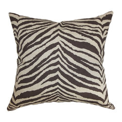 "The Pillow Collection - Cecania Zebra Print Pillow Chocolate Linen 18"" x 18"" - This beautiful decor pillow is the perfect accessory to add to your living space. It provides dimension with its striking zebra pattern print in shades of chocolate brown and linen. You can use this square pillow in your living room, bedroom or lounge area. Lend a contemporary touch to your interiors by pairing this 18"" pillow with other animal prints and solids. Made of 100% high-quality and soft cotton material. Hidden zipper closure for easy cover removal.  Knife edge finish on all four sides.  Reversible pillow with the same fabric on the back side.  Spot cleaning suggested."
