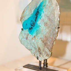 Table Lamps by Alchemy Collection - We create table lamps in limited edition models with only the best natural specimens, custom shades, and handcrafted metal mount work and details. Please inquire about available inventory or pieces in production. This is a close up of a turquoise fragment with blue chrysocolla. The bronze mounts are handcrafted and textured for a unique detail.