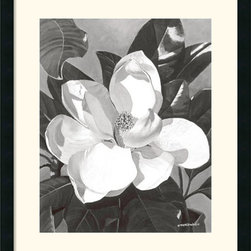 Amanti Art - White Magnolia Framed Print by Marianne Hornbuckle - With its unique aroma and beauty, the magnolia has captured the hearts of many. The state flower of both Louisiana and Mississippi, this fragrant blossom is an icon synonymous with the Deep South.