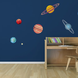 10 Piece Planetary System Printed Matte Removable Vinyl Wall Art - Great wall decoration for a child's room or playroom. We felt Pluto got a bum rap, so it's included in this set!