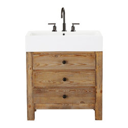 Mason Reclaimed Wood Single Sink Console, Wax Pine Finish - This porcelain and natural wood bathroom vanity might be one of the prettiest things I've ever seen! The wax pine finish covers reclaimed wood, and it's finished off with a gorgeous white sink top. It's so beautiful — I'm in love!