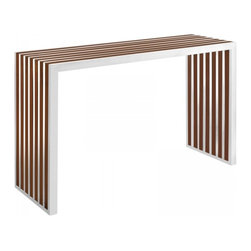 Modway Imports - Modway EEI-1431-WAL Gridiron Wood Inlay Console Table In Walnut - Modway EEI-1431-WAL Gridiron Wood Inlay Console Table In Walnut