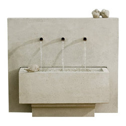 Campania - X3 Garden Water Fountain, Brown Stone - The X3 Garden Fountain is very unique, combining bold lines and geometric shapes with the soothing sounds of streaming water. The X3 fountain is a contemporary work of art that relaxes the soul as much as it amazes the eyes.