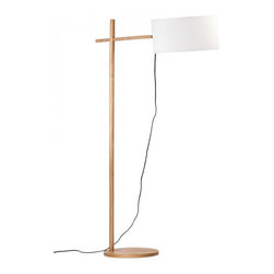 ParrotUncle - Street Style Super Simple Wood Floor Lamp - The lines on this lamp are clean and modern, yes, but they're far from minimal. Its base is cross combined by two pieces of wood sticks and ends in a fabric drum shade that hangs like a pendant. Next to a sofa, it provides just the right amount of interest and light.