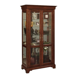 Jasper Cabinets - Full-View Curio Cabinet w Adjustable Glass Sh - Glass doors and side panels highlight this stylish curio cabinet, featuring adjustable glass shelves and an ornate wood frame with bracket feet and a crown molding top for a traditional look. The piece features halogen touch lights and a mirrored back for added visual interest. Screwed on wood backs. Mirrored back with glass sides. Doors with locks fitted with wood strips. Halogen touch lights. Floor levelers. Adjustable plate grooved shelves. Hand rubbed stained finished curios. Weighted base stability for opening and closing doors. Made from solid wood and veneers. Assembly required. 18 in. W x 40 in. L x 79 in. H (165 lbs.)Jasper Cabinet's large selection of curios are made to meet our long standing tradition of excellence.