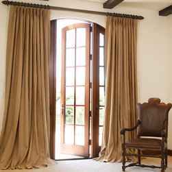 Custom Drapery & Roman Shades by DrapeStyle - Solid Classic Linen Custom Drapery in Leather by DrapeStyle.