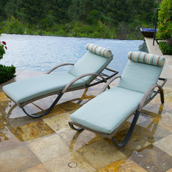 Cannes Woven Lounger Set - These handsome lounge chairs are perfect for relaxing, reading or entertaining. Lightweight aluminum frames are powder coated for scratch and rust resistance with a handsome, espresso colored hand-woven polyethylene wicker. Five way adjustable backrest allow you to position the lounger in the most comfortable seating position. Built in wheels makes moving your loungers a snap.
