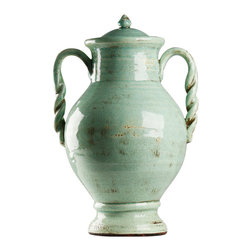 Zentique - Tonya Vase, Blue - The Tonya Vase features an amphora inspired style with two pulled, rope like handles with a lid. For decorative purposes only.