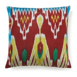 5 Surry Lane - Red Multi Silk Ikat Pillow - Woven by artisans in Uzbekistan, this multicolored silk ikat pillow will create an exotic look in your living room or bedroom. Add it to your favorite space for a pop of color. Same ikat pattern on front and back. Hidden zipper closure with a down/feather insert.