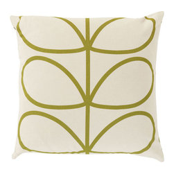 Open Bloom Pillow in Green - Add whimsical interest to your space with this throw pillow. Made in Portugal and designed by Orla Kiely, it's sure to add an energetic yet soothing vibe to any room. Toss one on a couch, chair, or bed for a comfy-cozy splash of design.