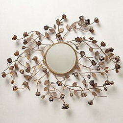 "Anthropologie - Flourishing Rosebuds Mirror - Iron, glass35.75""H, 45.5"" diameter3.5"" projectionImported"