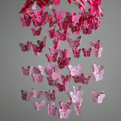 Butterfly Nursery Mobile Pink By mauilustre - I love the ethereal design of this mobile. The gradation in color is beautiful.