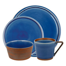 Waechtersbach - Pure Nature Blue 16pc Place Setting - Like a breath of fresh air for your table, this 16-piece dinnerware set (full service for four) is hand-crafted from completely natural materials. Glazed surfaces have a craquelure effect, while those left unglazed are hand-painted to resemble the grain and color of wood.