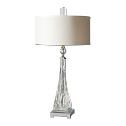 Uttermost - Grancona Twisted Glass Table Lamp - Add a hint of glamour to your desk or side table with this elegant lamp. The mix of crystal and polished nickel will delight your style sensibilities while casting a warm glow throughout your modern home. It's design is made easy with just the flip of a switch.