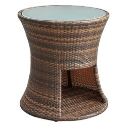 Modway - Strum Rattan Patio Side Table - Play your way to a beat you can groove to. Strum is a small yet rhythmic piece that will accent your outdoor patio arrangement, while fashionably offering up an additional spot to land your beverage. Complete with a useful storage compartment and tempered glass top, Strum is a streamlined mixed coloration rattan piece that imparts a sweeping sense of joy and gladness of heart.