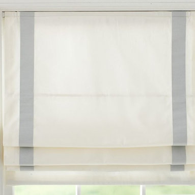 Grosgrain Ribbon Cordless Roman Shade, Blue - Don't forget to decorate kitchen windows. Simple linen Roman shades are the perfect way to finish off a farmhouse kitchen.