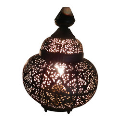 """Artemano - Oriental Pierced Metal Table Lamp, 9"""" X 9"""" X 13"""" - Place this perforated metal lamp on a table or shelf and watch the light dance on the walls throughout the room. Handcrafted of iron, this lantern-shaped table lamp emits a soft, warm glow that creates the perfect amount of ambient lighting in any space.  Set a romantic tone in your bedroom, dining room or living space with the help of this modern oriental table lamp. Black on the outside with a gold interior."""