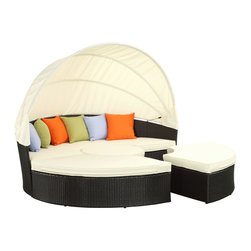 Modway Furniture - Modway Quest Canopy Daybed in Espresso White - Canopy Daybed in Espresso White belongs to Quest Collection by Modway Complete your circle with four distinct wedges of joy. Quest pieces together the puzzle of experience with a fun and versatile daybed. Adjourn for your daytime repast either by yourself or with others. Like offering a friend a warm slice of pie, Quest's pieces easily separate to serve the seating needs of others. The set also comes equipped with a sun canopy to shield your leisure time with the pleasantness of shade. Courageously engaging, this is a daybed that reveals the hidden art of collaboration and communal engagement. Quest is comprised of a UV resistant rattan base, a powder-coated aluminum frame and all-weather cushions. The set is perfect for cafes, restaurants, pool areas, hotels, resorts and other outdoor spaces. Set Includes: One - Quest Circular Outdoor Patio Quarter Coffee Table One - Quest Circular Patio Daybed with Canopy Six - Quest Throw Pillows Two - Quest Circular Outdoor Patio Quarter Ottomans Daybed (1), Coffee Table (1), Ottoman (2)