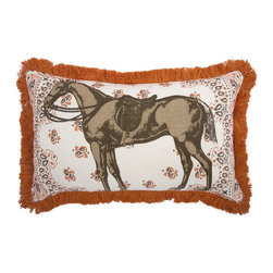 Thomas Paul - Menagerie Collection, Horse Pillow - If only it was possible to sew all the Thomas Paul pillows together into a sofa. It would be the most talked about sofa in town. All the bright colored fauna and flora, the patchwork of silk and linen--it would truly be a masterpiece. The only thing that keeps us from doing this is--we don't know how to sew. And then there is that business about somehow attaching legs. We're even more clueless on how to do that.