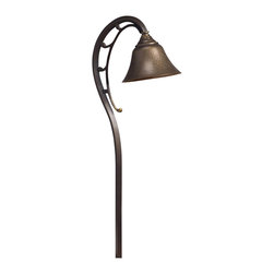"""Kichler 1-Light Landscape Fixture - Olde Bronze - One light landscape fixture. Subtle detailing with heavy curving lines give. This lighting outdoor path light a unique look. The brass construction of the shade features etching and engraving to create an organic pattern, with the entire fixture finished in an olde bronze hue. Comes with 8"""" in-ground stake mounting accessory. Wiring is 26"""" of usable #18-2, spt-1-w leads. cable connector supplied with fixture."""