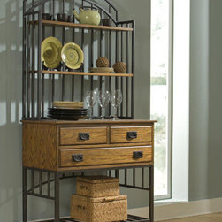 Home Styles - Oak Hill Storage Baker's Rack - Features: -Oak Hill collection. -Oak finish. -Multi step distressed finish. -Solid hardwood and hardwood veneers construction. -Two utility drawers. -One large bottom drawer to provide ample storage area. -Stylish metal base. -Hutch for additional display.