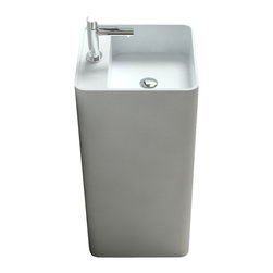 ADM - ADM Free Standing Solid Surface Stone Resin Sink, Glossy - Free Standing Solid Surface Stone Resin Sink