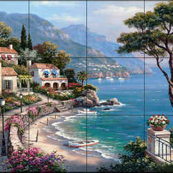 The Tile Mural Store (USA) - Tile Mural - Sk - Escape - Kitchen Backsplash Ideas - This beautiful artwork by Sung Kim has been digitally reproduced for tiles and depicts a beautiful ocean view.  Waterview tile murals are great as part of your kitchen backsplash tile project or your tub and shower surround bathroom tile project. Water view images on tiles such as tiles with beach scenes and Mediterranean scenes on tiles Tuscan tile scenes add a unique element to your tiling project and are a great kitchen backsplash idea. Use one or two of our landscape tile murals for a wall tile project in any room in your home for your wall tile project.
