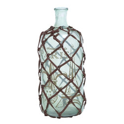 Benzara - Petite and Attractive Glass Bottle Transparent Design - This distinct piece of home decor has a potential to impress with the profound beauty and glamorous details of13 in. H Petite and Attractive Glass Bottle Transparent Design. This piece of decor has a stunning personality that makes it worthy to enhance the appeal of modern or contemporary interiors. It boasts of a rustic fashion that is derived from its transparent design and lustrous surface. The face of this bottle is painted with an Eiffel tower and French words that adds to its overall design. You can experiment with its creative appearance that is covered in leather straps to add a touch of sophistication. Its highly versatile features enable it to incorporate it in the living room or in your bedroom. The extended durability with a hardened body of glass and an innovative protective layer makes it fit for use.