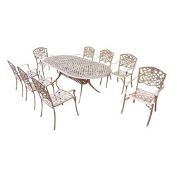 Oakland Living - 9-Pc Dining Set in Antique Bronze Finish - Includes one oval dining table, eight stackable chairs and metal hardware. Fade, chip and crack resistant. Traditional lattice pattern and scroll work. Handcasted. Umbrella hole table top. Warranty: One year limited. Made from rust free cast aluminum. Minimal assembly required. Chair: 23 in. W x 22 in. D x 35.5 in. H (25 lbs.). Table: 84 in. L x 42 in. W x 29 in. H (99 lbs.). Overall weight: 280 lbs.This dining set is the prefect piece for any outdoor dinner setting. Just the right size for any backyard or patio. We recommend that the products be covered to protect them when not in use. To preserve the beauty and finish of the metal products, we recommend applying an epoxy clear coat once a year. However, because of the nature of iron it will eventually rust when exposed to the elements. The Oakland Mississippi Collection combines southern style and modern designs giving you a rich addition to any outdoor setting.