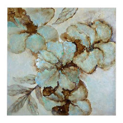 Uttermost Fairy Blooms Floral Art - Canvas over wooden stretchers with high gloss finish. This hand painted artwork on canvas features a high gloss finish and is stretched and attached to wooden stretching bars. Due to the handcrafted nature of this artwork, each piece may have subtle differences.