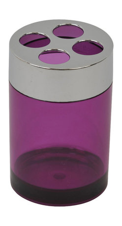 Acrylic Toothbrush Holder with Chrome Part Clear Purple - This toothbrush holder for bathrooms is in clear purple acrylic with chrome parts and will add a modern look and feel to your decor. This circular shaped toothbrush holder is a lovely accent for any bathroom and has four slots for toothbrushes and toothpaste, it will be a treasured addition to any bathroom. Diameter of 2.76-Inch and a height of 4.13-Inch. Wipe clean with soapy water. Color clear purple. Accessorize your bathroom countertop in a trendy style with this charming toothbrush holder! Complete your decoration with other products of the same collection. Imported.