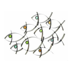 UMA - Fantastical School of Fish Contemporary Metal Wall Art - This unique metal artists' rendering of a school of fish will bring a smile to your face and light a fire under your imagination; hang this in your tropical or nautical-themed room to create an instant visual