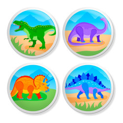 New Speed Limit - Set of 4 Dresser Drawer Knobs/Pulls Hardware For Kids - Dinosaur - DinoRoar, T-Rex, Bronto, Stego, and Triceratops Moms or Dads, you can give your child's old dresser a quick inexpensive DIY makeover. Our custom-made ceramic knob sets screw on easily to most flat faced drawer fronts in minutes! Your kids will love one of our many cool, detailed, and fun designs. You will love the traditional, easy to grab, clean, and round shape with no sharp edges. Perfect! Each 4 Pack contains 4 1 1/2 inch bright ceramic knobs with a 1 1/4 inch long Phillips head screw. Please check out all of our different designs.