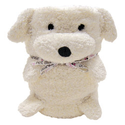 foufoubaby - My Pet Blankie™ - Ernie the Dog - This 3-in-1 blanket and plush toy is a new and innovative roll-up plush blanket that transforms into a cute plush toy; huggable and lovable for infants and children of all ages. When unrolled, the blanket is made of hypoallergenic, snuggly soft, fleecy material that is completely machine-washable and stuffing free.
