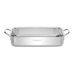 "Cuisinart - Cuisinart Chef's Classic Non-Stick Stainless 13 1/2"" Lasagna Pan - Aluminum encapsulated base heats quickly and spreads heat evenly"