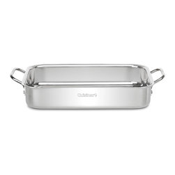 "Cuisinart - Cuisinart Chef's Classic Non-Stick Stainless 13.5"" Lasagna Pan - Aluminum encapsulated base heats quickly and spreads heat evenly"