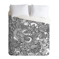 DENY Designs - Valentina Ramos Doodles Duvet Cover - Turn your basic, boring down comforter into the super stylish focal point of your bedroom. Our Luxe Duvet is made from a heavy-weight luxurious woven polyester with a 50% cotton/50% polyester cream bottom. It also includes a hidden zipper with interior corner ties to secure your comforter. It's comfy, fade-resistant, and custom printed for each and every customer.